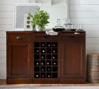 Pottery Barn Modular Bar Buffet with 2 Cabinet Bases & 1 Wine Grid Base