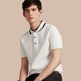 Burberry Striped Collar Cotton Piqué Polo Shirt $425 thestylecure.com