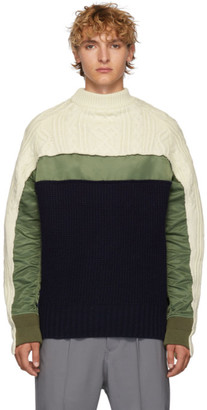 Sacai Off-White and Navy Wool Pullover Turtleneck