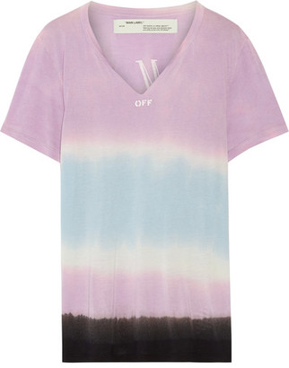 Off-White - Printed Tie-dyed Micro Modal T-shirt - Lavender $315 thestylecure.com