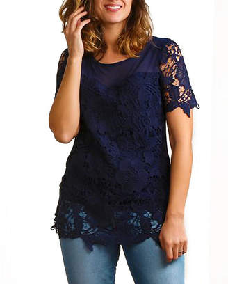 Asstd National Brand Plus Illusion Lace Crochet Lined Tunic