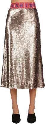 Stella Jean Sequined Stretch Midi Skirt