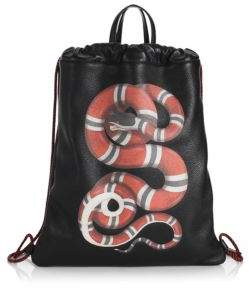 Gucci Kingsnake Leather Drawstring Backpack