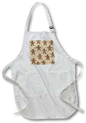 3dRose Gingerbread Man Cookies, Full Length Apron, 22 by 30-inch, Black, With Pockets