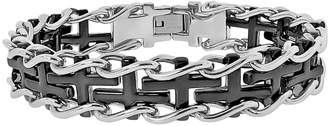 Lynx Stainless Steel Two Tone Sideways Cross Railroad Bracelet - Men
