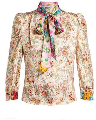 Edeltrud Hofmann - Dia Pussy Bow Floral Print Silk Blouse - Womens - Cream Multi