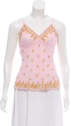 Aqua Embellished Silk Top