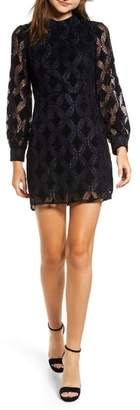 Moon River Puff Sleeve Chenille Lace Dress