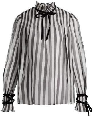 Valentino - Striped Silk Organza Blouse - Womens - White Black