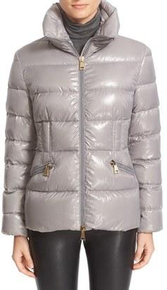 Women's Moncler 'Daphne' Water Resistant Short Shiny Nylon Jacket $990 thestylecure.com