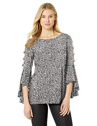 MSK Womens Bell Sleeves Top Clothing, Shoes & Jewelry