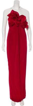 Marchesa Silk Strapless Maxi Dress