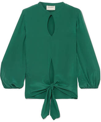 Zeus+Dione ZeusDione - Horai Cutout Knotted Silk Crepe De Chine Top - Green
