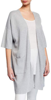 Eileen Fisher Plus Size Open-Front Elbow-Sleeve Long Cardigan