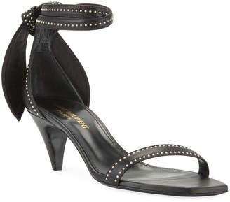 Saint Laurent Charlotte Studded Leather Ankle-Tie Sandals