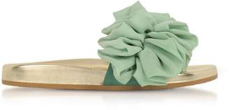 Charlotte Olympia Metallic Nappa Leather And Aquamarine Organza Flat Slide Sandals