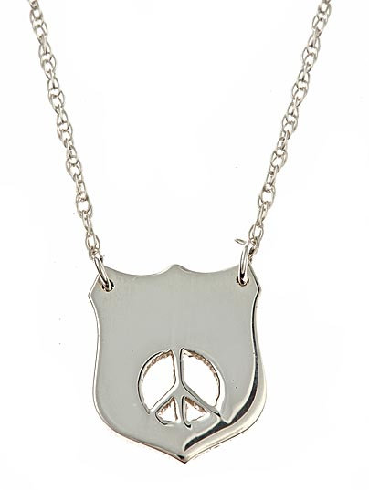 Jennifer Zeuner Silver Shield with Peace Necklace