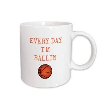Ballin 3dRose every day im ballin, basketball picture, orange lettering, Ceramic Mug, 11-ounce