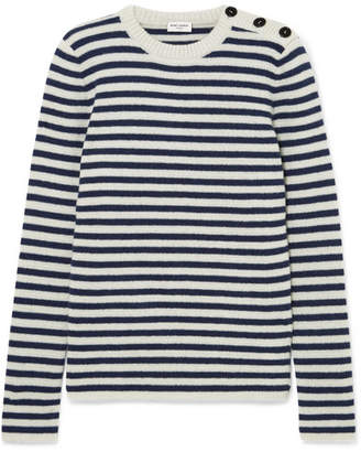 Saint Laurent Striped Mohair-blend Sweater - Blue