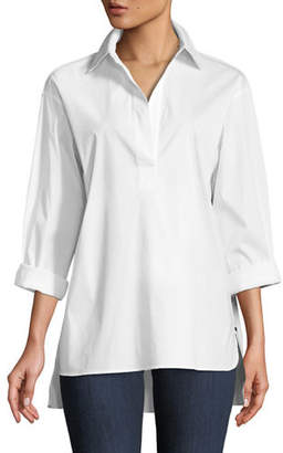 Lafayette 148 New York Beckett Italian Stretch-Cotton Blouse, Plus Size