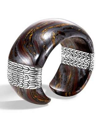 John Hardy Classic Chain Wide Silver Flex Kick Cuff Bracelet with Tiger Iron, Size M