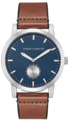 Vince Camuto Men's Brown Leather Strap Watch, 43.5mm