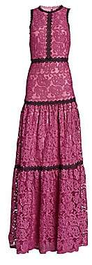 ML Monique Lhuillier Women's Sleeveless Lace Trim Gown - Size 0