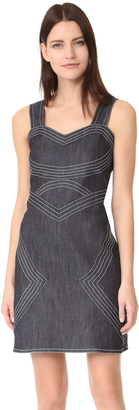 Derek Lam 10 Crosby Raw Denim Sleeveless Fitted Dress $425 thestylecure.com