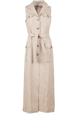 Giuliva Heritage Collection Belted Pinstriped Linen-Twill Midi Dress