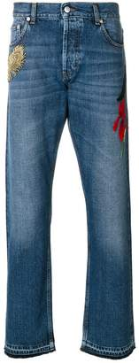 Alexander McQueen embroidered straight-leg jeans
