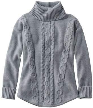 L.L. Bean L.L.Bean Double L Mixed-Cable Sweater, Turtleneck