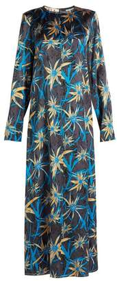 Marni Long Sleeved Herbage Print Satin Dress - Womens - Blue Print
