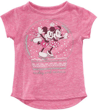 Disney Toddler Girls Mickey & Minnie Mouse Snow Globe T-Shirt