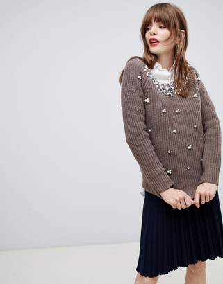 Darling Sweater With Pearl Embellishment