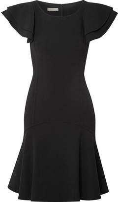 Michael Kors Ruffled Wool-blend Mini Dress - Black