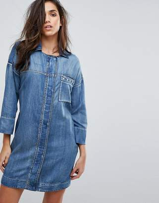 Replay Military Denim Dress with Stud Detail