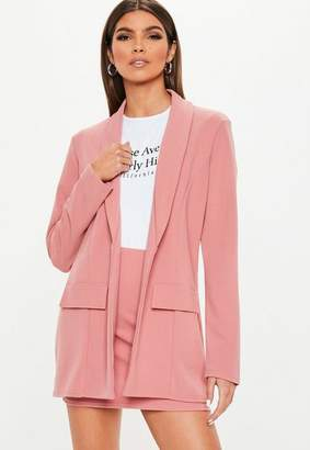 Missguided Pink Crepe Oversized Suit Jacket