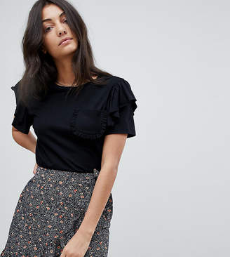 Glamorous Tall T-Shirt With Ruffle Sleeves And Chest Pocket