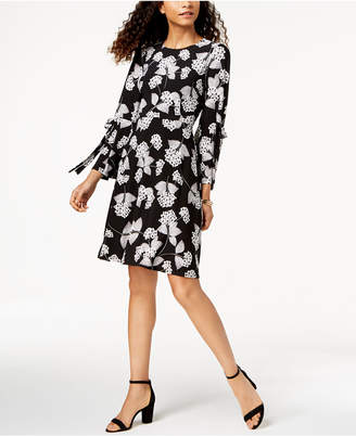 Nine West Floral-Print Tied Bell-Sleeve Dress