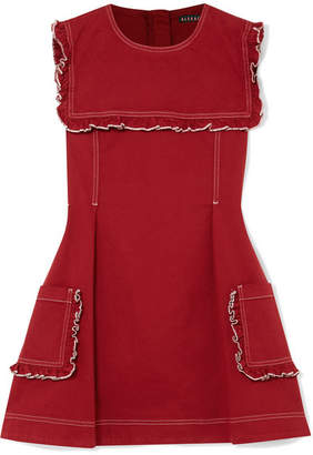 ALEXACHUNG Sailor Ruffled Stretch-denim Mini Dress - Brick