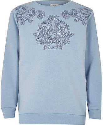 River Island Boys blue embroidered sweatshirt