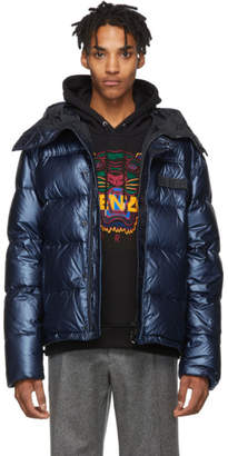 Kenzo Blue Down Metallic Hooded Jacket