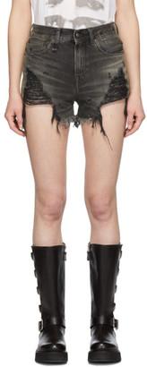 R 13 Black Shredded Slouch Shorts