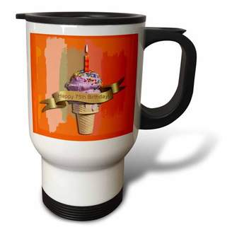 3dRose Happy 75th Birthday, Strawberry Ice Cream Cone on Abstract, Orange, Travel Mug, 14oz, Stainless Steel