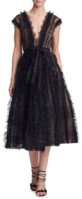 417bae3508 Marchesa Plunging V-Neck Lace   Ruffled Cocktail Dress