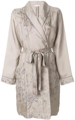 Gold Hawk embroidered belted coat