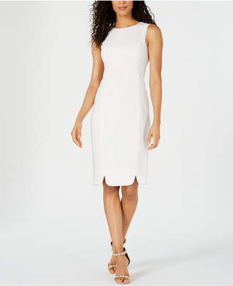 Kasper Textured Scalloped-Hem Sheath Dress