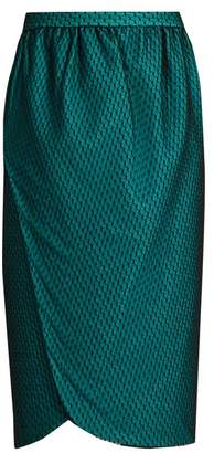 Emilio De La Morena Salma Wrap Front Knee Length Skirt - Womens - Dark Green