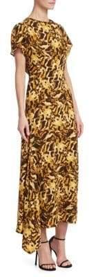 Victoria Beckham Tiger-Print Drape Neck Midi Dress