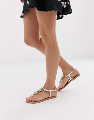 Asos Design DESIGN Fairgame leather embellished flat sandals